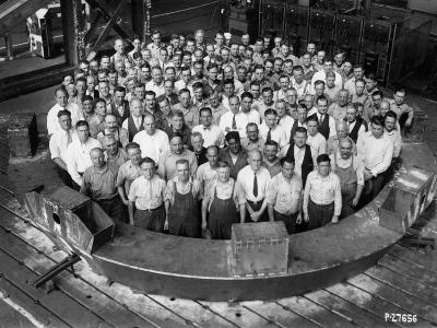 Employee Group Portrait, Within a Section of the Hale Telescope, C.1936-48--Photographic Print
