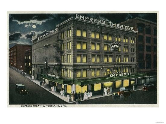 Empress Theatre in Portland, Oregon - Portland, OR-Lantern Press-Art Print