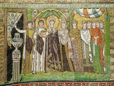 Empress Theodora with her Court of Two Ministers and Seven Women, c.547 AD--Giclee Print