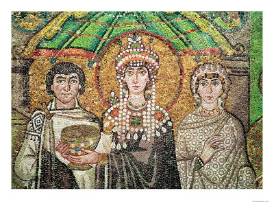 Empress Theodora with Her Court of Two Ministers and Seven Women, circa 547 AD--Giclee Print