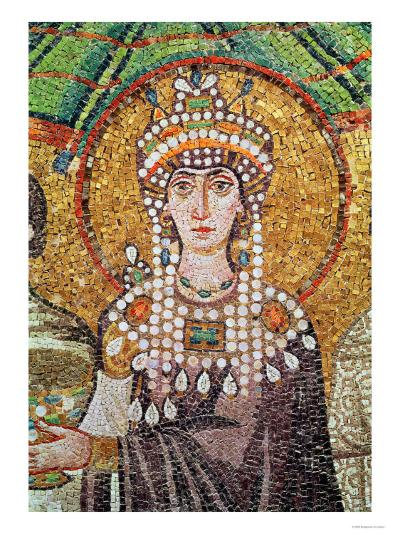 Empress Theodora with Her Court of Two Ministers and Seven Women, Detail of Theodora, circa 547 AD--Giclee Print