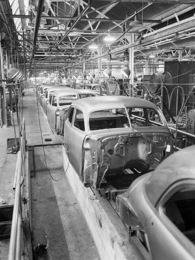 Empty Assembly Line at Auto Body Plant--Photographic Print