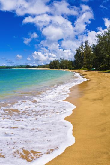 Empty beach and blue Pacific waters on Hanalei Bay, Island of Kauai, Hawaii, USA-Russ Bishop-Photographic Print