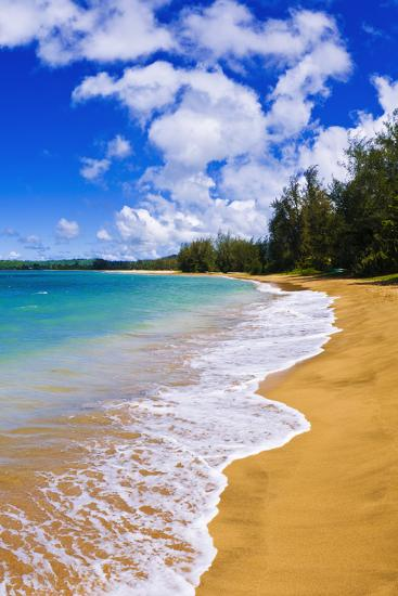 Empty Beach and Blue Pacific Waters on Hanalei Bay, Island of Kauai, Hawaii-Russ Bishop-Photographic Print