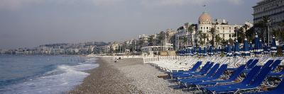 Empty Lounge Chairs on the Beach, Nice, French Riviera, France--Photographic Print
