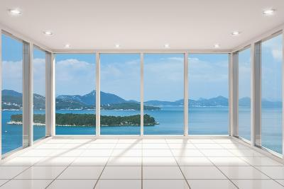 Empty Modern Lounge Area with Large Bay Window and View of Sea-FreshPaint-Art Print
