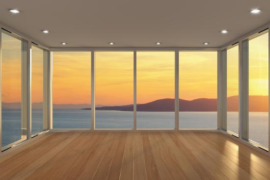 . Empty Modern Lounge Area with Large Bay Window and View of Sea Photographic  Print by FreshPaint   Art com