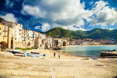 Empty Old Beach of Cefalu, Sicily-anita_bonita-Photographic Print