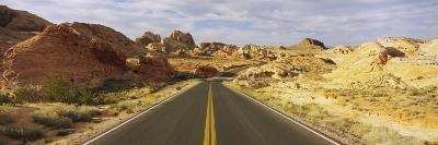 Empty Road Running Through a Landscape, Valley of Fire State Park, Nevada, USA--Photographic Print