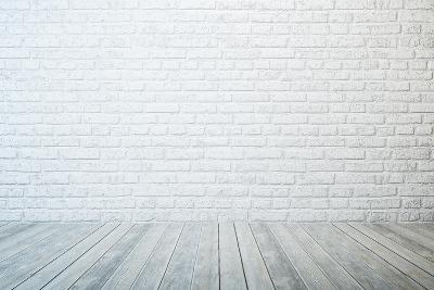 Empty Room with White Brick Wall and Wooden Floor-auris-Art Print