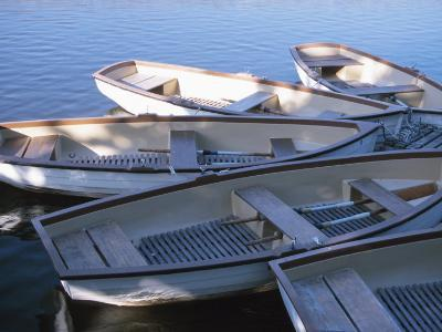 Empty Rowboats Moored Together on Tranquil Water--Photographic Print