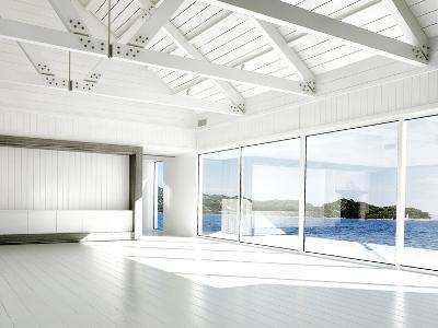 Empty White Room with Large Windows and Scenic View-PlusONE-Photographic Print
