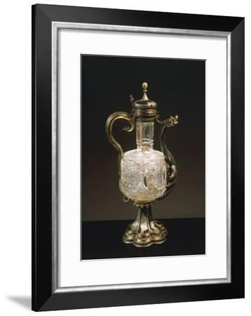 Enameled and Gilded Silver Mounted Rock Crystal Cruet Bottle, 15th-16th Century--Framed Giclee Print