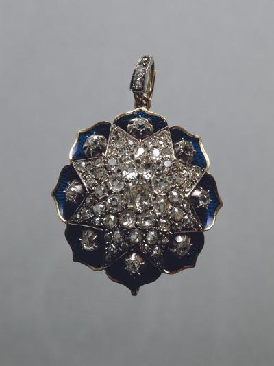 Enameled Gold and Diamonds Pendant--Giclee Print