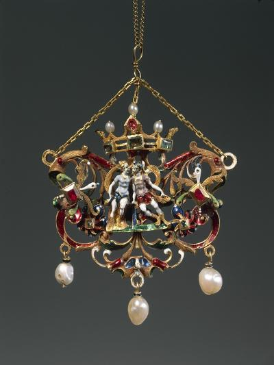 Enameled Gold Pendant Depicting Venus and Mars, Set with Pearls, Rubies and Emeralds--Giclee Print