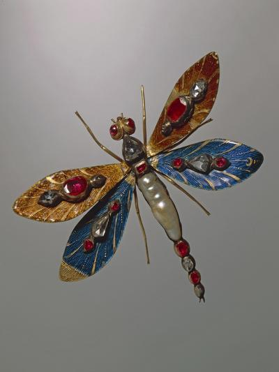 Enamelled Gold and Silver Jewel in Shape of Butterfly and Set with Baroque Pearls--Giclee Print