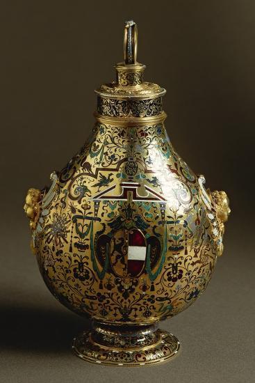 Enamelled Gold Flask with Salzburg Coat of Arms and Archbishop Wolf Dietrich Von Raitenau's Emblem-Hans Karl-Giclee Print