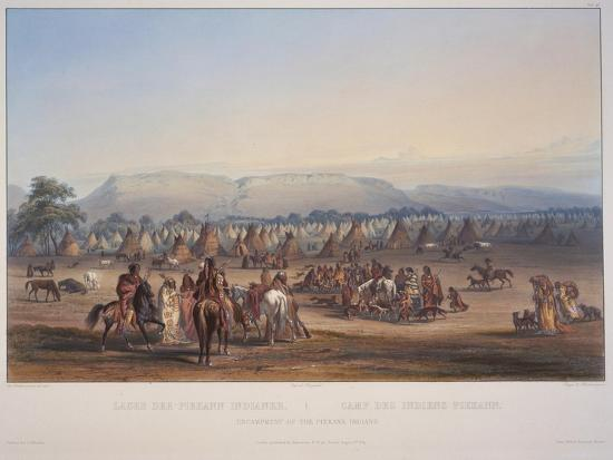 Encampment of the Piekann Indians, Engraved by Beyer and Hurliman, Published in 1839-Karl Bodmer-Giclee Print
