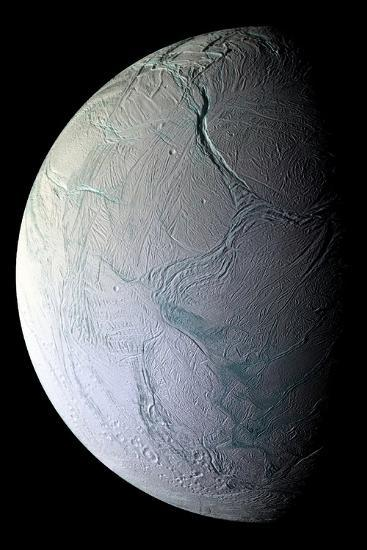 Enceladus's Icy Face Reveals Ridges and Folds From the Moon's Active Geology--Photographic Print