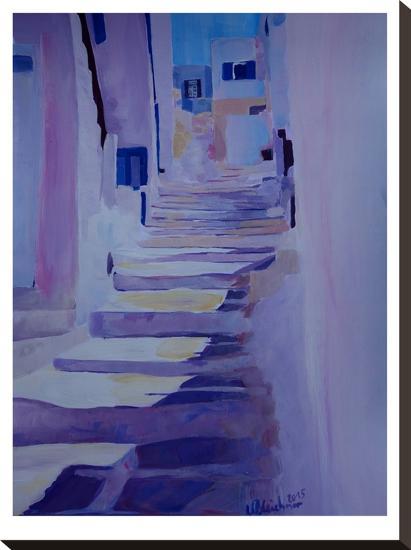 Enchanting Mykonos Greek Islands Stairs-M Bleichner-Stretched Canvas Print