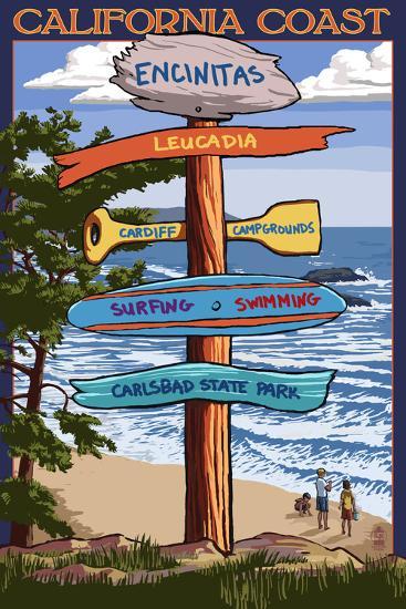 Encinitas, California - Signpost Destinations-Lantern Press-Art Print
