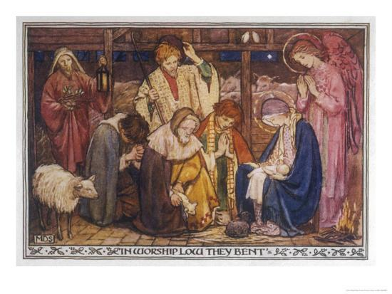 Encouraged by the Angels the Shepherds Come to Jesus' Cradle to Worship the Child-M^ Dibden-Giclee Print