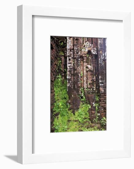 Encroaching moss and Hindu statues at My Son Sanctuary, Quang Nam Province, Vietnam-Paul Dymond-Framed Photographic Print