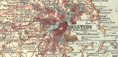 Detail of Boston (C. 1900), Maps by Encyclopaedia Britannica
