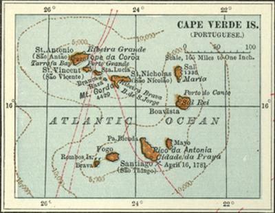 Inset Map of Cape Verde Islands (Portuguese) by Encyclopaedia Britannica