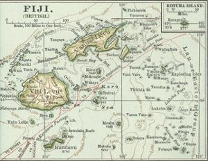 Inset Map of Fiji Islands (British). South Pacific. Oceania by Encyclopaedia Britannica