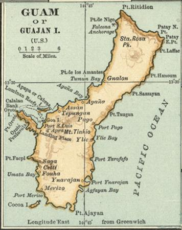 Inset Map of Guam or Guajan Island (Us) by Encyclopaedia Britannica