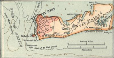 Inset Map of Key West Island, Florida by Encyclopaedia Britannica