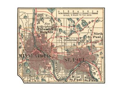 Inset Map of Minneapolis and St. Paul, Minnesota