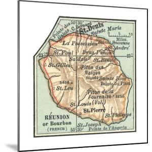 Inset Map of Reunion or Bourbon Island (French) by Encyclopaedia Britannica