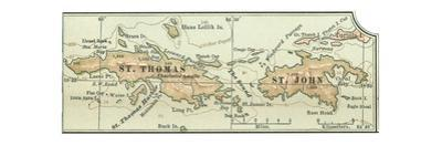 Inset Map of Saint Thomas and St. John Islands by Encyclopaedia Britannica