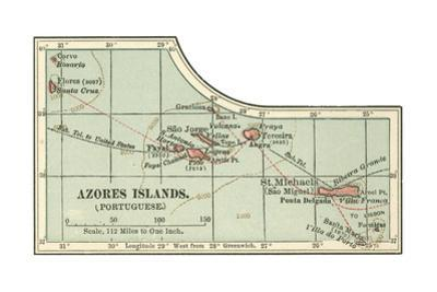Inset Map of the Azores Islands (Portuguese) by Encyclopaedia Britannica