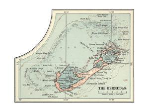 Inset Map of the Bermudas. Caribbean Islands by Encyclopaedia Britannica