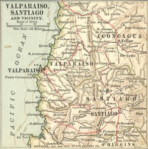 Inset Map of Valparaiso, Santiago and Vicinity. Chile by Encyclopaedia Britannica