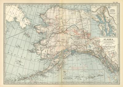 Map of Alaska. United States. Inset Maps of Sitka, and Aleutian Islands by Encyclopaedia Britannica