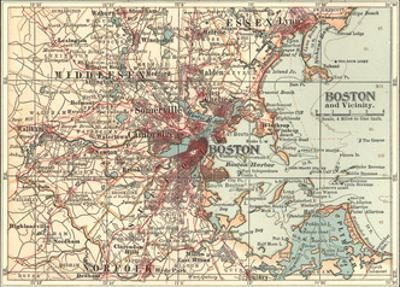 Map of Boston (C. 1900), Maps by Encyclopaedia Britannica