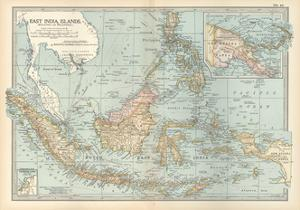 Map of East India Islands. Malaysia and Melanesia. Dutch East India by Encyclopaedia Britannica