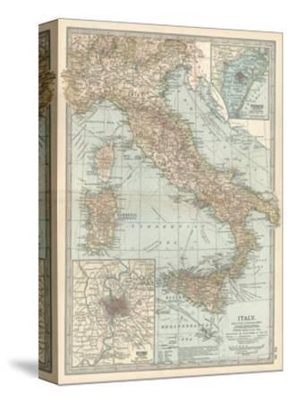 Map of Italy. Insets of Rome (Roma) and Vicinity, and Venice (Venezia) and Vicinity