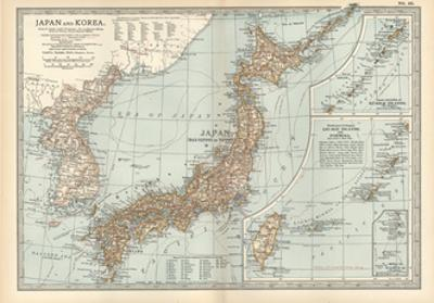 Map of Japan and Korea. Insets of Kurile Islands and Liu-Kiu Islands and Formosa (Taiwan) by Encyclopaedia Britannica