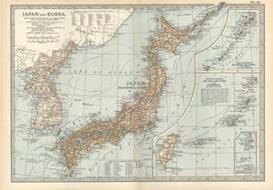 Map of Japan and Korea. Insets of Kurile Islands and Liu-Kiu Islands and Formosa (Taiwan) by Encyclopaedia Britannica