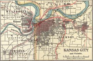 Map of Kansas City (C. 1900), Maps by Encyclopaedia Britannica