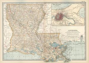 Map of Louisiana. United States. Inset Map of New Orleans and Vicinity by Encyclopaedia Britannica