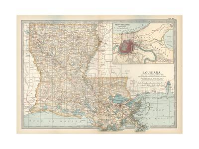 Map of Louisiana. United States. Inset Map of New Orleans and Vicinity