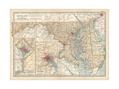 Map of Maryland and Delaware. United States. Inset Maps of District of Columbia