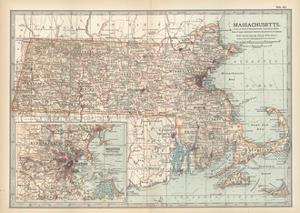 Map of Massachusetts, United States. Inset of Boston and Vicinity by Encyclopaedia Britannica