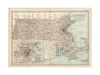 Map of Massachusetts, United States. Inset of Boston and Vicinity